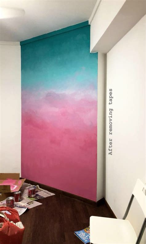 ombre wall painting design craft art prints  carousell