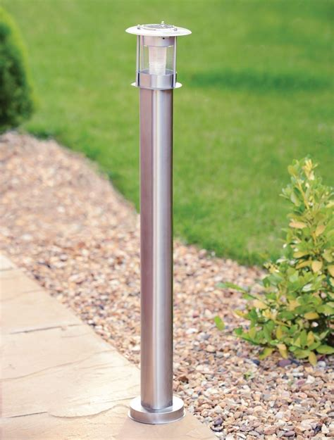 solar led outdoor l post 90cm stainless steel outdoor patio driveway garden led