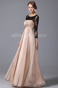 elegant empire waist evening gown with lace sleeves edressit With robe de cocktail manche longue