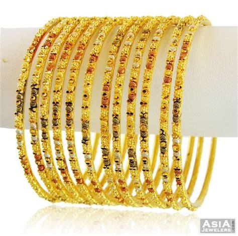 designer 3 tone bangles set 22k asba58846 22k gold bangles churis set set of 12 pcs