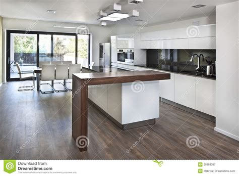 cuisine maison de famille kitchen open space at interior of family house stock