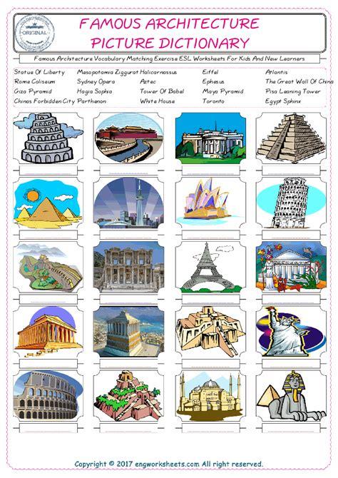 Famous Architecture Vocabulary Matching Exercise Esl