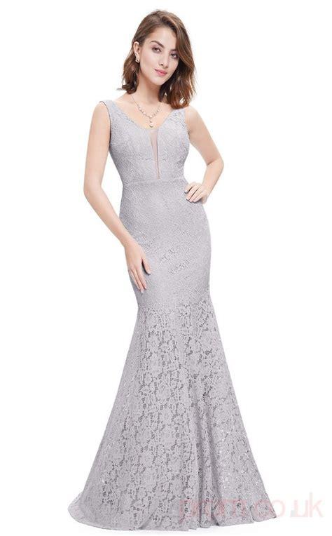 Mermaid V-neck Long Silver Lace Prom Dresses(PRJT04-1908-D ...