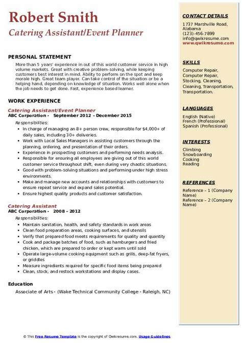 catering assistant resume samples qwikresume