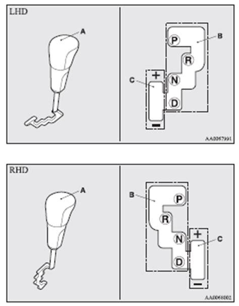 mitsubishi lancer selector lever operation automatic