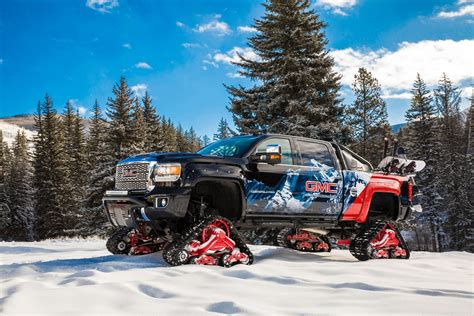 gmc sierra hd takes  snow covered mountains