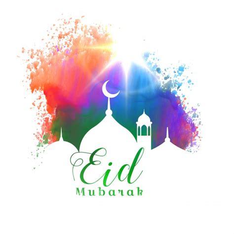 colorful eid mubarak card vector