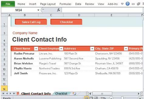 sales call log organizer  excel