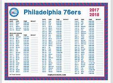 Printable 20172018 Philadelphia 76ers Schedule