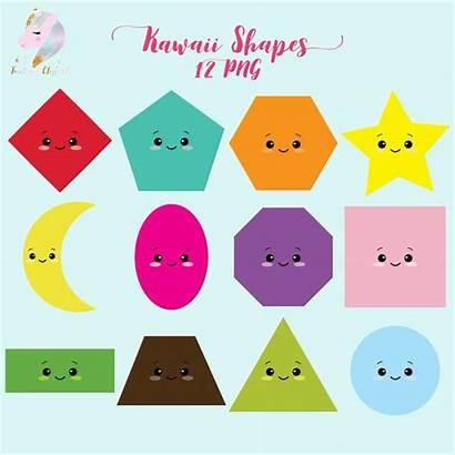 Shapes Clip Clipart Kawaii Geometric Supplies Teachers