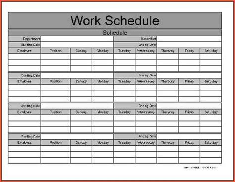 monthly work schedule template task list templates
