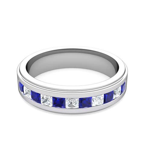 princess cut diamond sapphire mens wedding band platinum