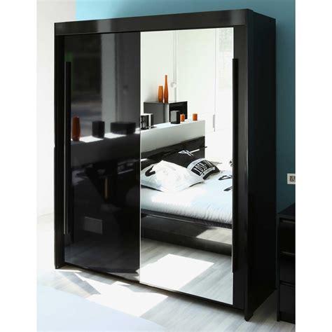 meuble penderie chambre armoire 2 portes coulisantes avec miroir l184xp61xh217cm