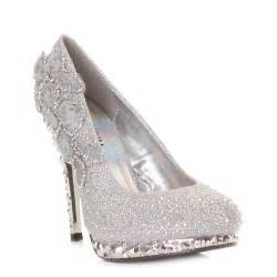 wedding reception shoes womens silver flower platform high heel wedding prom shoe size 3 8 ebay