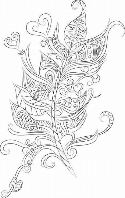 Coloring Tattoo Adult Feather Pages Trendy Tattoos