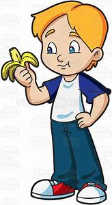 A Boy Eating A Banana | Cartoon, Illustrators and Drawings