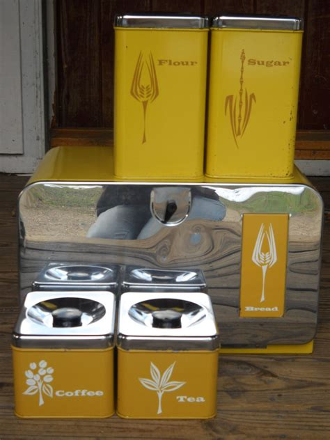 Retro Canisters Kitchen by Vintage Pantry Bread Box Canister Set 5 Pc 1950 S