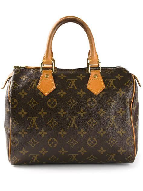 lyst louis vuitton speedy  monogrammed bag  brown