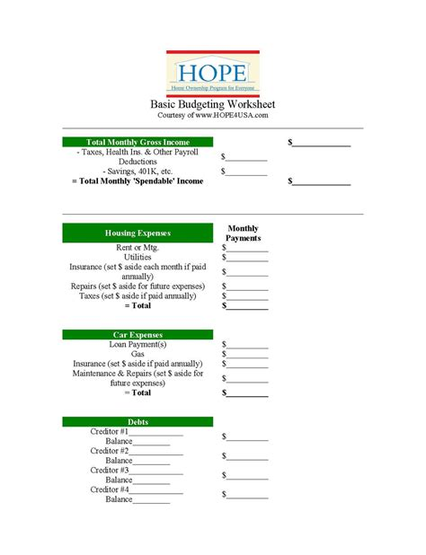 gift hopes basic budgeting worksheet hopeusa