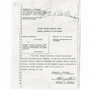 charles manson signed legal documents With documents by charles
