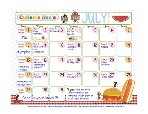 preschool calendars christian children activities 603 | July Calendar 1024x791