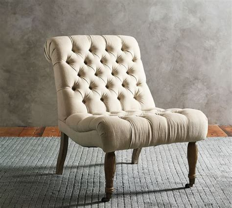 Carolyn Tufted Slipper Chair   Pottery Barn
