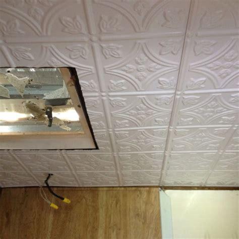 plastic tin ceiling   camper bathroom easy  put