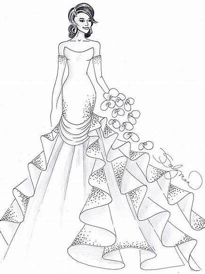 Kardashian Coloring Pages Dresses Kim Drawings Gown
