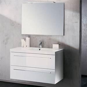 Meuble vasque salle de bain sanijura horizon laque blanc for Salle de bain design avec meuble salle de bain 60 cm castorama