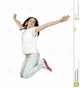 Casual teen jumping of joy stock photo. Image of casual ...