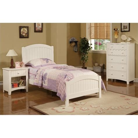 Poundex  Piece Kids Twin Size Bedroom Set In White Finish