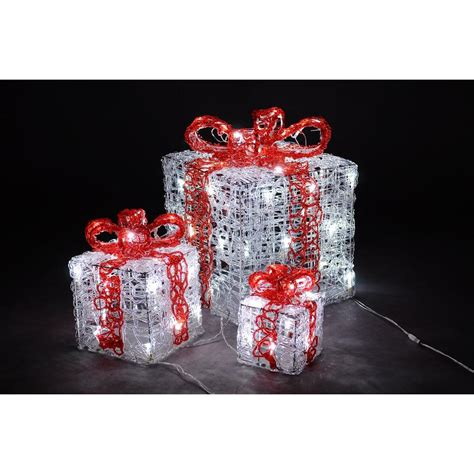 home accents holiday pre lit burlap gift boxes set of 3