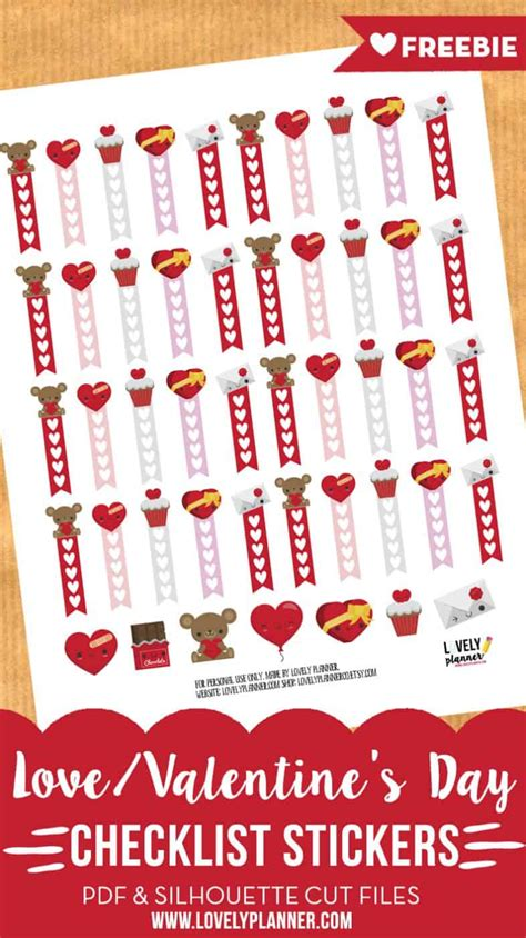 On this amazing day, many of them will organize a valentines party for his lovers and friends. Love / Valentine's day checklist stickers - Free planner ...