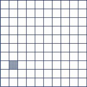 een vierkant van 1 dm bij 1 dm is verdeeld in hokjes van 1 With 7 de carreau