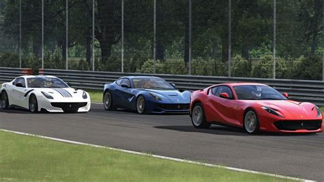 The 65º block of the ferrari displaces 6496cc, while the lamborghini's 60º v12 is just 2cc larger. Ferrari F12 TDF vs 812 Superfast vs F12 Berlinetta at Monza / Assetto Corsa - YouTube