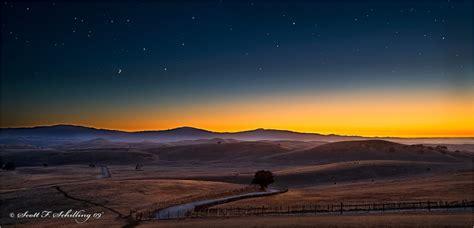 stars  evening twilight landscape rural