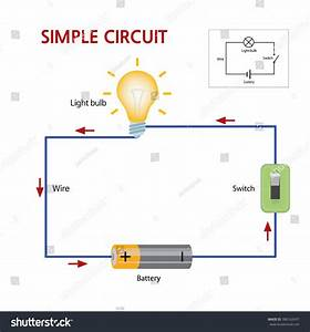 Simple Circuit That Consists Battery Switch Stock Vector