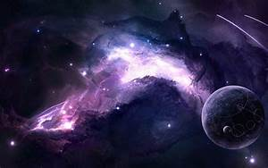 Space Art Purple Background Wallpaper