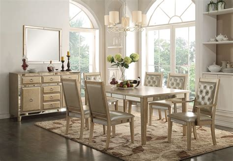 mirrored dining table set 9 piece acme voeville mirrored dining set