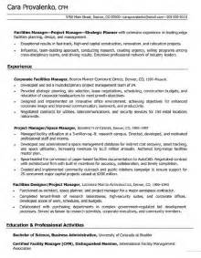 facilities manager resume objective resume exles project manager