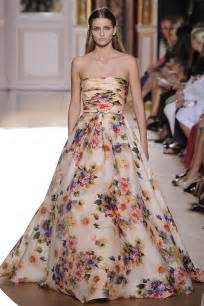 floral bridesmaid dresses runway to white aisle wedding dress inspiration fall 2012 zuhair murad floral printed