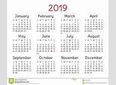 2019 Calendar Pocket Week Starts On Sunday Stock Vector