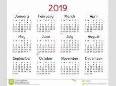 Calendario 2019 Bolsillo Comienzo De La Semana El Domingo