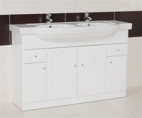 arm gloss white double bowl vanity unit contemporary