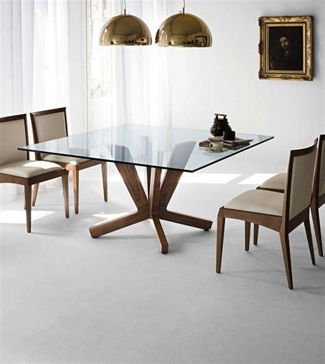 shimmering square glass dining tables   impress