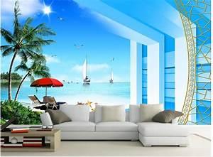 3d wallpaper nature Seaview Beach Photo wallpaper custom ...
