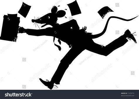 Vector Silhouette Cartoon Graphic Depicting Running Stock