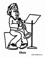 Oboe Coloring Pages Playing Boy sketch template