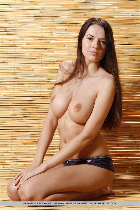 Firm Boobed Brunette Drea Slips Off Her Blue Panties