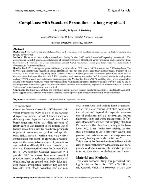 (PDF) Compliance with Standard Precautions: A long way ahead